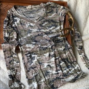 Camp Burnout Long Sleeve Military Fashion Top Med